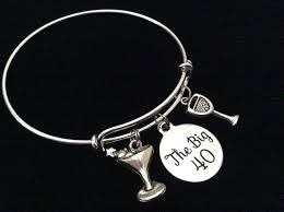 martini big the big 40 happy 40th birthday expandable charm bracelet with