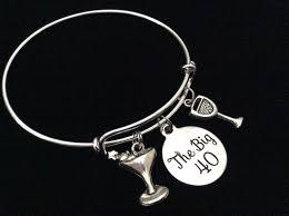 martini big the big 40 happy 40th birthday expandable charm bracelet with