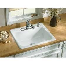 Overmount Kitchen Sinks Kohler K 5964 4 0 Mayfield White Kitchen Sinks Sinks Efaucets