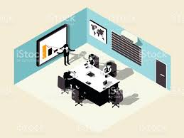 isometric illustration vector of business meeting in meeting room