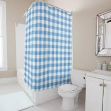 Blue And White Gingham Curtains Gingham Check Shower Curtains Zazzle