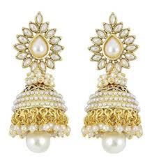 buy jhumka earrings online buy youbella jewellery traditional copper style pearl