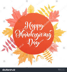 greeting card lettering text happy thanksgiving stock vector