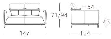 dimensions canap 2 places canapé cuir akano 2 places avec appuie tête relevable mobilier moss