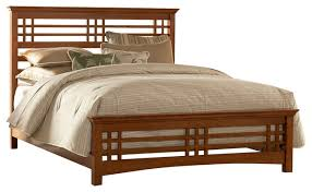 avery mission style bed with wood frame oak craftsman panel