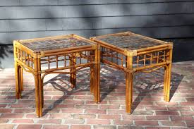Rattan Side Table Pair Of Vintage Rattan Side Tables In The Style Of Franco Albini