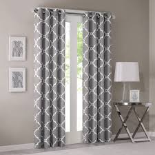 Light Gray Curtains by Saratoga Fretwork Print Window Curtain Woven Fabric Window