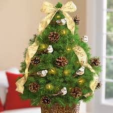decorations mini tree with sparrow fir seed and