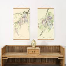 style purple flowers trees decoration wall picture