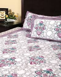 white cotton indian bed tapestry floral hand block printed bed
