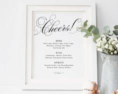 wedding drink menu template printable wedding bar menu template wedding bar sign signature