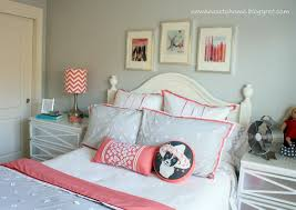 bedroom simple cool soft grey and muted coral bedding