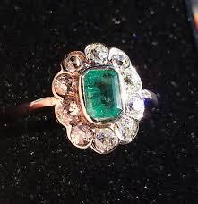 antique engagement rings uk reserved superb antique diamond emerald cluster ring e drury