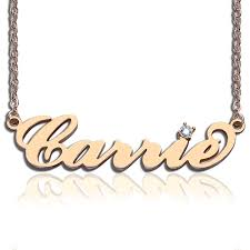 gold name necklaces gold carrie name necklace with birthstone