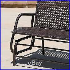 Patio Loveseat Glider Outdoor Loveseat Glider Brown Wicker Patio Furniture Garden Bench