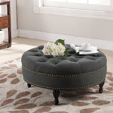 coffee table marvelous tufted footstool round brown leather