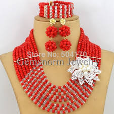 red crystal beads necklace images Tomato red crystal beads necklace set flower nigerian wedding jpg