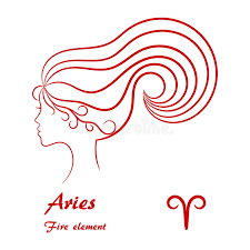 aries zodiac sign stylized contour profile stock vector