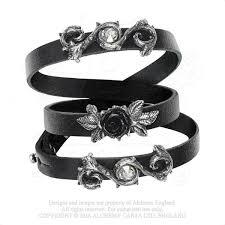 black rose bracelet images Alchemy gothic black rose of perfection wristrap bracelet jpg