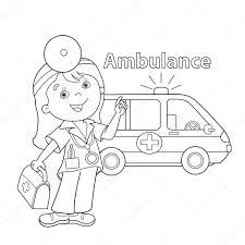 coloring outline cartoon doctor ambulance car u2014 stock