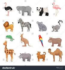 zoo animals set flat style isolated stock vector 659705068