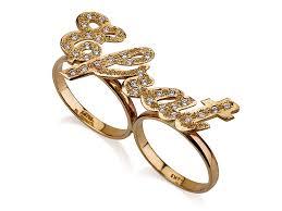 two finger name ring gold name ring w swarovski stones jewelry persjewel