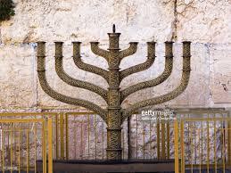 jerusalem menorah a menorah at the western wall city of jerusalem stock photo