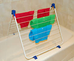 clothes drying rack fits bathtub saves space