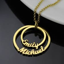 kids name necklace wholesale gold color personalized two circle names necklace family