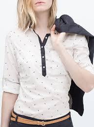 womens cotton blouses white cotton blouse black anchor print contrasting lapel details