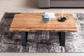 Wohnzimmertisch 100 X 60 Finebuy Couchtisch Aus Massivholz Akazie Baumstamm