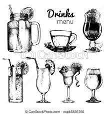 clip art vector of cocktails soft drinks and glasses for bar