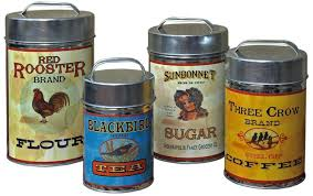 vintage canisters set coffee tea sugar flour retro tin metal