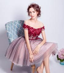 ruthshen short prom dresses cheap off shoulder wine red flowers