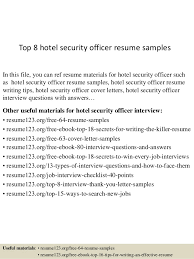 top 8 hotel security officer resume samples 1 638 jpg cb u003d1431858284