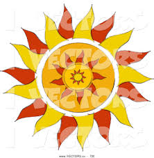 vector graphic of a warm and orange tribal styled sun design