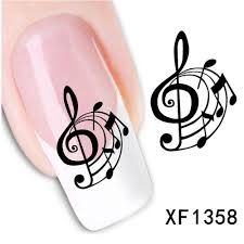 Music Nail Art Design 1sheets New Decals Diy Designs Music Notes Crazy Stickers Nail Art