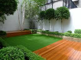 deck decking london stock brick walls formal topiary low
