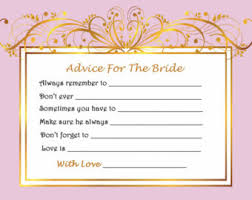 wedding wishes and advice cards bridal advice cards etsy