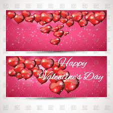 pink romantic horizontal banners with flying glossy hearts