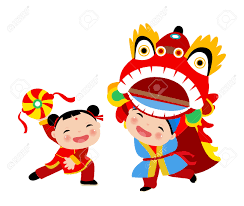 kids playing lion dance chinese new year royalty free cliparts