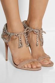 crystal embellished suede sandals bling rhinestone summer high