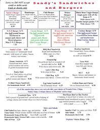 sandy u0027s restaurant menu