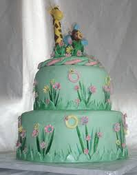 giraffe baby shower cakes safari or zoo themed green pink and yellow baby shower cake with