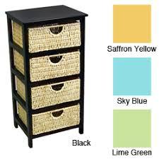4 drawer compact wicker basket storage shelf black wicker
