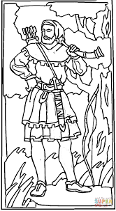 robin hood in a sherwood forest coloring page free printable