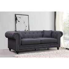 meridian furniture 662gry s chesterfield tufted grey linen sofa w