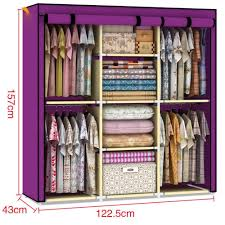 Wardrobe Cabinet With Shelves Amazon Com Youzee Home Portable Fabric Cover Cloth Hanger Rack