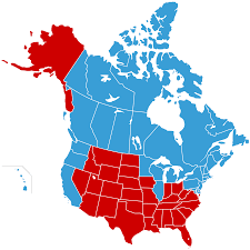 Map Of The 50 United States by Map Of The United States Of Canada In Blue And Jesusland In Red