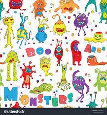 halloween birthday cards monster seamless pattern hand drawn design stock vector 333010337